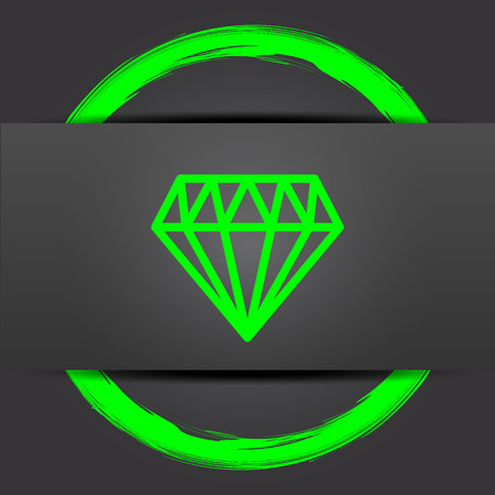 unbreakable: Diamond icon. Internet button with green on grey background.