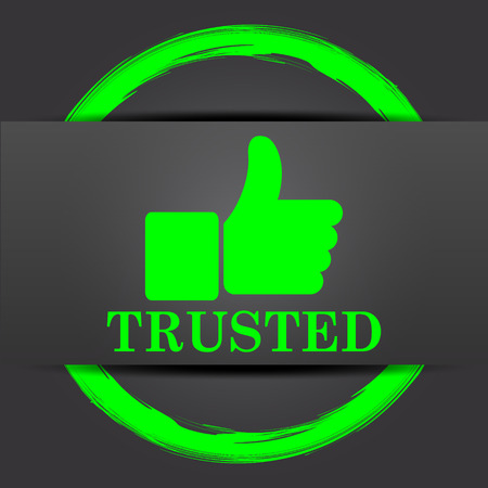 trusted: Trusted icon. Internet button with green on grey background. Stock Photo