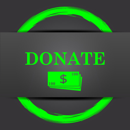 aiding: Donate icon. Internet button with green on grey background. Stock Photo