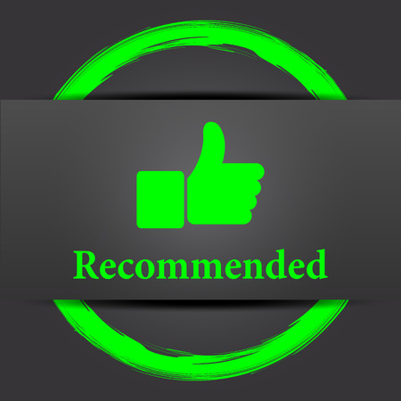 recommendations: Recommended icon. Internet button with green on grey background.