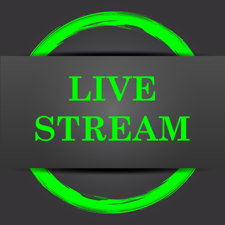 news cast: Live stream icon. Internet button with green on grey background.