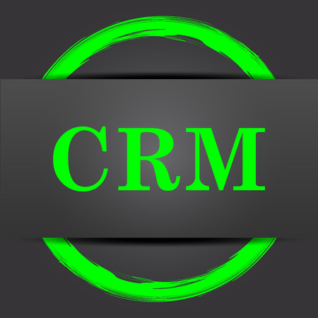 crm: CRM icon. Internet button with green on grey background.