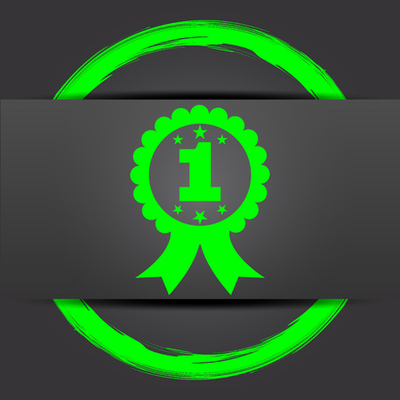 first prize: First prize ribbon icon. Internet button with green on grey background.