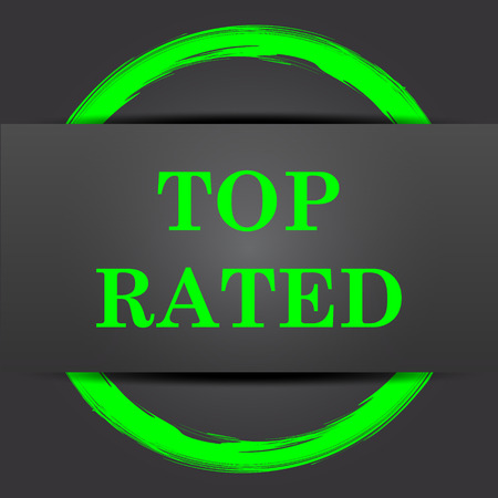 rated: Top rated  icon. Internet button with green on grey background.