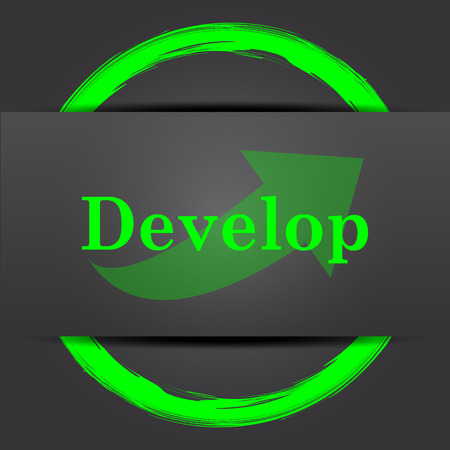 develop: Develop icon. Internet button with green on grey background.