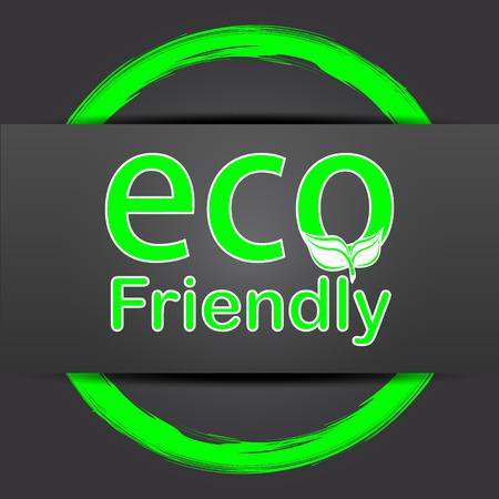 eco friendly icon: Eco Friendly icon. Internet button with green on grey background. Stock Photo