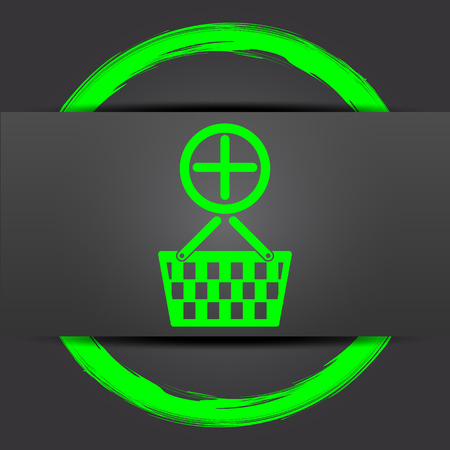 add to basket: Add to basket icon. Internet button with green on grey background. Stock Photo
