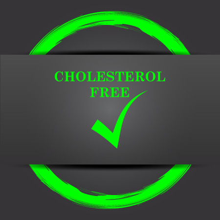 cholesterol free: Cholesterol free icon. Internet button with green on grey background.