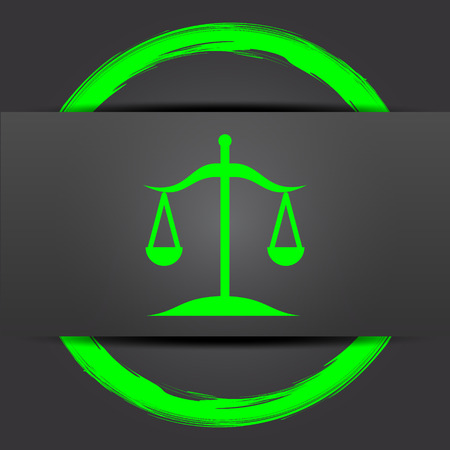 trial balance: Balance icon. Internet button with green on grey background. Stock Photo