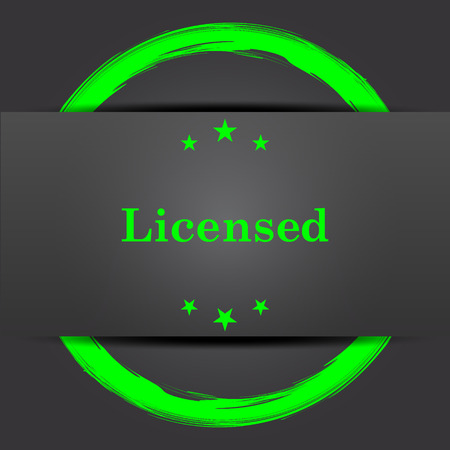 Licensed icon. Internet button with green on grey background.