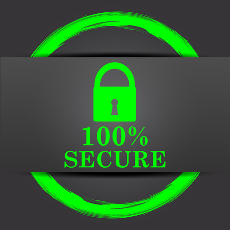 reassurance: 100 percent secure icon. Internet button with green on grey background.