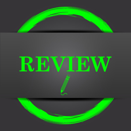 review icon: Review icon. Internet button with green on grey background. Stock Photo