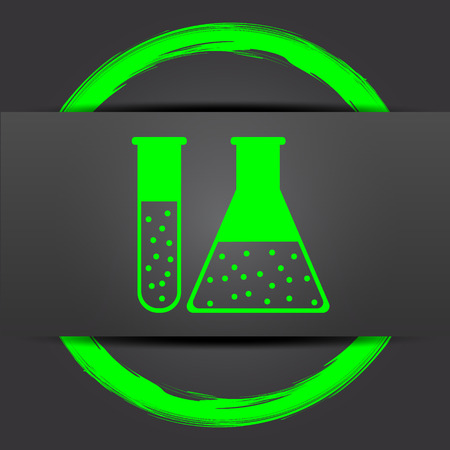 green chemistry: Chemistry set icon. Internet button with green on grey background. Stock Photo