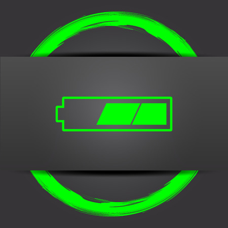 charged: 2 thirds charged battery icon. Internet button with green on grey background. Stock Photo