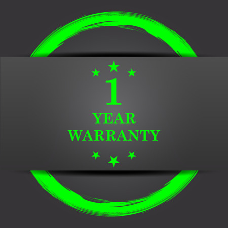 1 year warranty: 1 year warranty icon. Internet button with green on grey background.