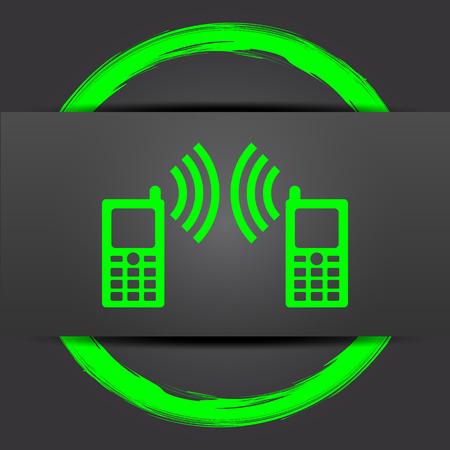 icono comunicacion: Communication icon. Internet button with green on grey background. Foto de archivo