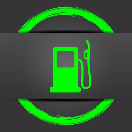 Gas pump icon. Internet button with green on grey background. Stock Photo