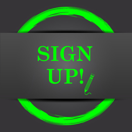 sign up icon: Sign up icon. Internet button with green on grey background.