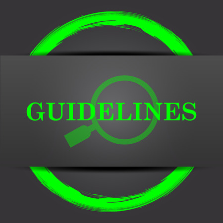 specification: Guidelines icon. Internet button with green on grey background.