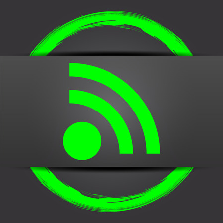 publishes: Rss sign icon. Internet button with green on grey background.