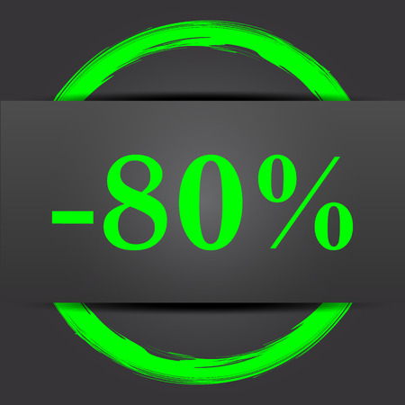 rebate: 80 percent discount icon. Internet button with green on grey background. Stock Photo