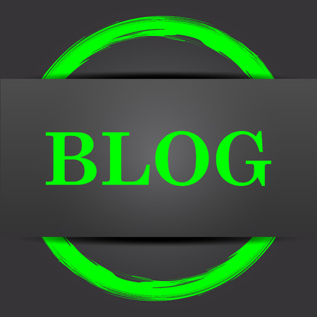 informing: Blog icon. Internet button with green on grey background. Stock Photo