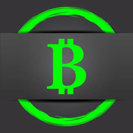 p2p: Bitcoin icon. Internet button with green on grey background.