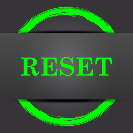 redesign: Reset icon. Internet button with green on grey background. Stock Photo