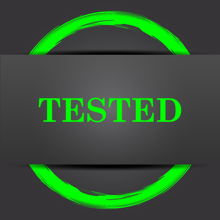 tested: Tested icon. Internet button with green on grey background.