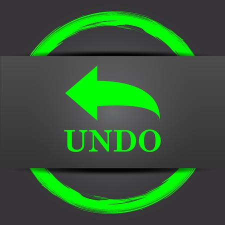 undo: Undo icon. Internet button with green on grey background. Stock Photo