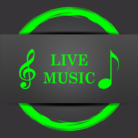 live music: Live music icon. Internet button with green on grey background.