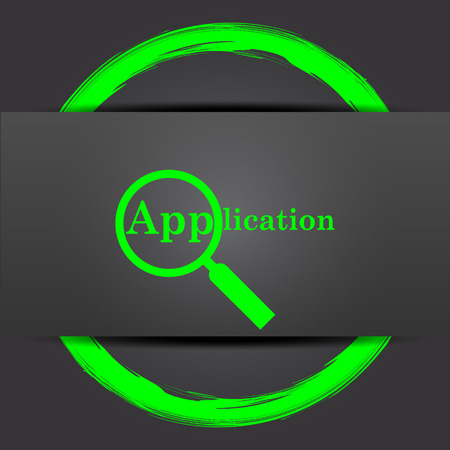 requisition: Application icon. Internet button with green on grey background.