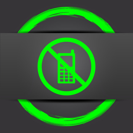 use regulation: Mobile phone restricted icon. Internet button with green on grey background. Stock Photo