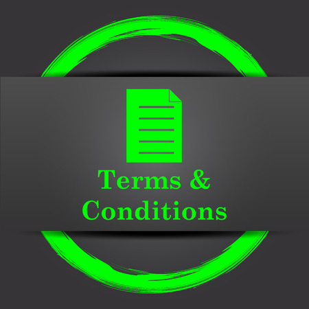 conditions: Terms and conditions icon. Internet button with green on grey background.