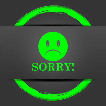 apologize: Sorry icon. Internet button with green on grey background. Stock Photo