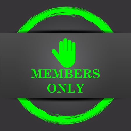 Members only icon. Internet button with green on grey background.