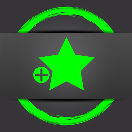 Add to favorites icon. Internet button with green on grey background.