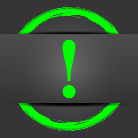 attention icon: Attention icon. Internet button with green on grey background. Stock Photo