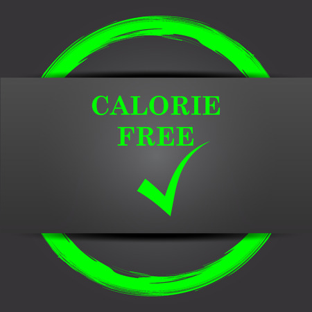 calorie: Calorie free icon. Internet button with green on grey background.