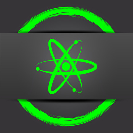 gamma radiation: Atoms icon. Internet button with green on grey background.
