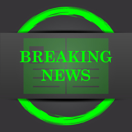 newscast: Breaking news icon. Internet button with green on grey background. Stock Photo
