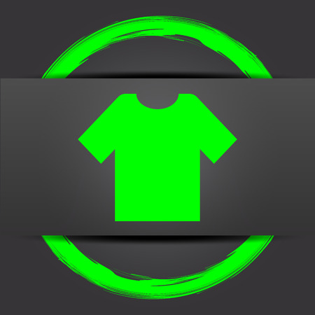 t short: T-short icon. Internet button with green on grey background. Stock Photo