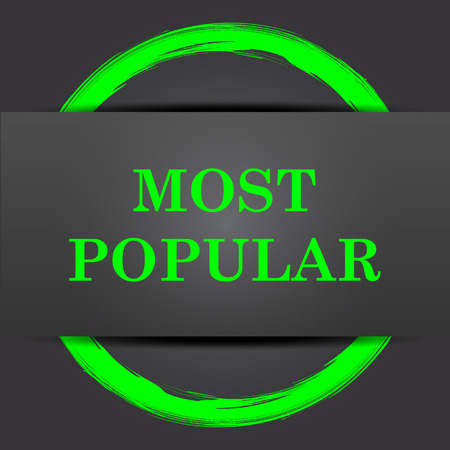 most: Most popular icon. Internet button with green on grey background.