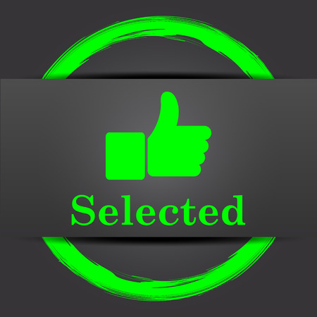 selected: Selected icon. Internet button with green on grey background.