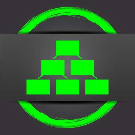 organizational: Organizational chart icon. Internet button with green on grey background.