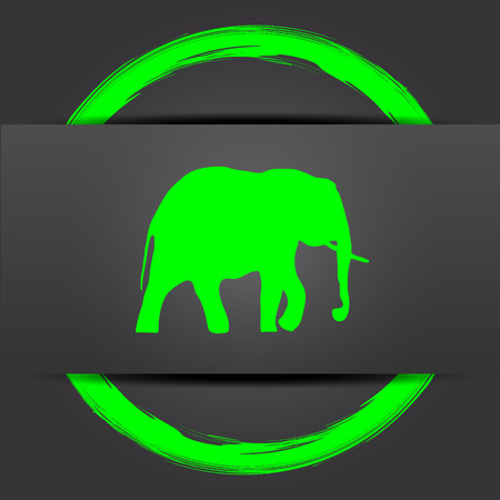 endanger: Elephant icon. Internet button with green on grey background.
