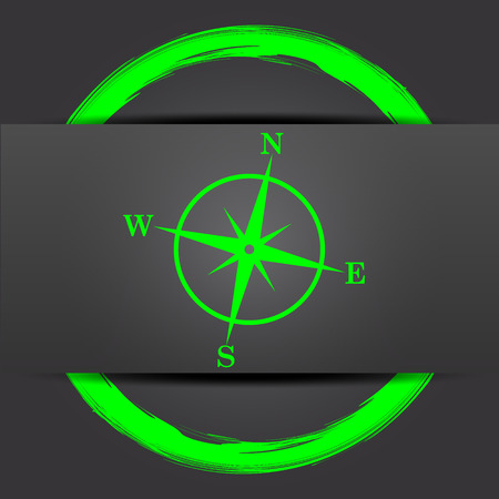 geodesy: Compass icon. Internet button with green on grey background. Stock Photo