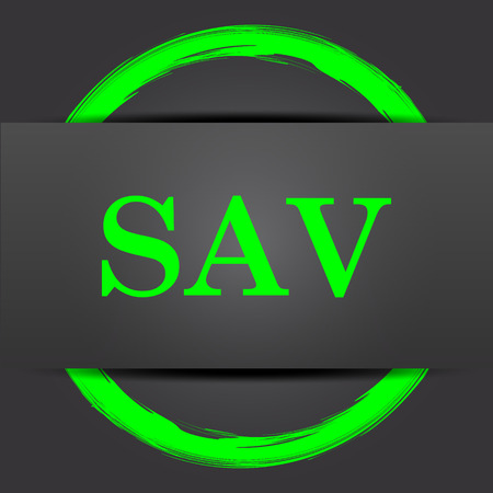 assessed: SAV icon. Internet button with green on grey background. Stock Photo