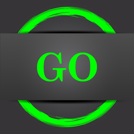 proceed: GO icon. Internet button with green on grey background.