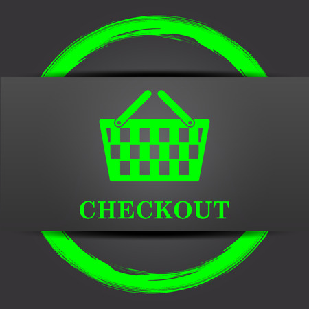 checkout: Checkout icon. Internet button with green on grey background. Stock Photo